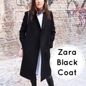 Zara Black Coat peacoat XS New Jacket wool vest